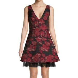 BCBGMAXAZRIA Printed Tulle Hemmed Dress